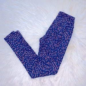 Lularoe Blue & Mauve Pattern Printed Leggings
